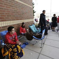 Gonzaga Fans Watch Championship Game At The McCarthey Athletic Center Gonzaga University students 19 year old freshman Joseph Coppock, left, and 21 year old senior Heather Ryan wait at the head of the line at the McCarthey Athletic Center. Both students and their friends have been waiting in line from as early as 6:30AM.