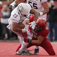 Montana State vs. Eastern Washington Football Eastern Washington linebacker Ketner Kupp (40) tackles Montana State running back Nick LaSane (23) during the first half. Young Kwak