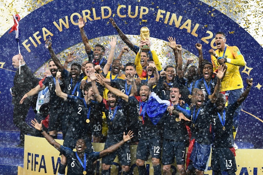 French players celebrate after winning the 2018 soccer World Cup final against Croatia in Moscow, July 15, 2018. Led by Kylian Mbappé and Paul Pogba, France brings home its second World Cup trophy, 20 years after winning its first. - JAMES HILL/THE NEW YORK TIMES