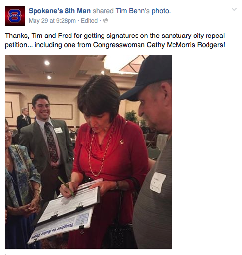 Cathy McMorris Rodgers puts her name to an initiative that would overturn the city of Spokane's immigration status restrictions. - 2015 SCREENCAP OF TIM BENN PHOTO