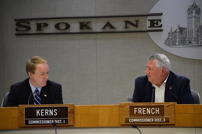 Spokane County commissioners Al French and Josh Kerns. - WILSON CRISCIONE PHOTO
