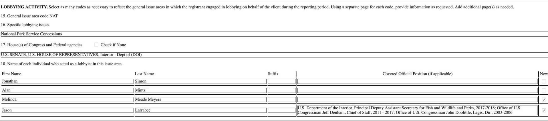 Former Interior official Jason Larrabee filed a disclosure form showing that, at Van Ness Feldman, he worked for a client seeking a contract with the Interior Department's National Park Service. Under question No. 18, the form lists Larrabee as the only lobbyist with previous federal work experience.