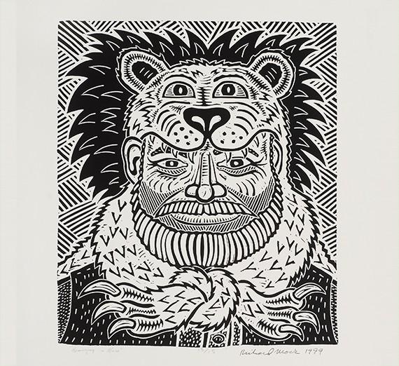 "Richard Mock (American, 1944-2006) Hemingway in Africa, 1998 Linoleum cut, 19"" x 16"""