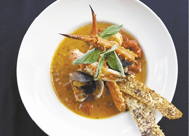 Cioppino with Kalamata Olive Toast available during The Great Dine Out