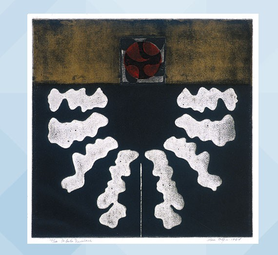 Glen E. Alps (American, 1914-1996) The White Necklace, 1964 Intaglio, Collagraph, and Embossing Jundt Art Museum, Gonzaga University; Gift of A. Fae Tegtman