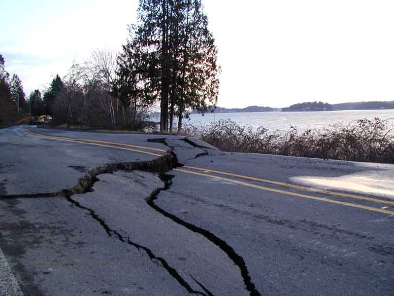 Damage in Western Washington from the 6.8-magnitude Nisqually earthquake in 2001.