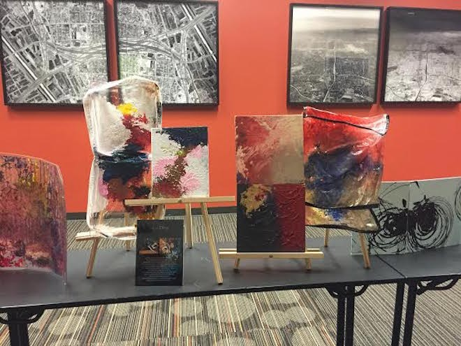 Participants in the Spark program display their art this month at the Downtown Spokane Library branch.