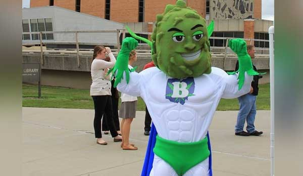 """Buddie,"" the ill-fated mascot for Ohio's legalization campaign."