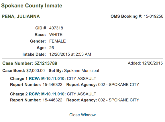 A screenshot of Pena's intake report from the Spokane County Jail.
