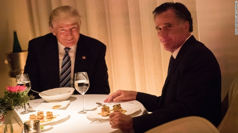 I imagine Trump on my left shoulder whispering into my ear, trying to get me to be evil, and Romney on my right, trying to convince me to be good - GETTY IMAGES