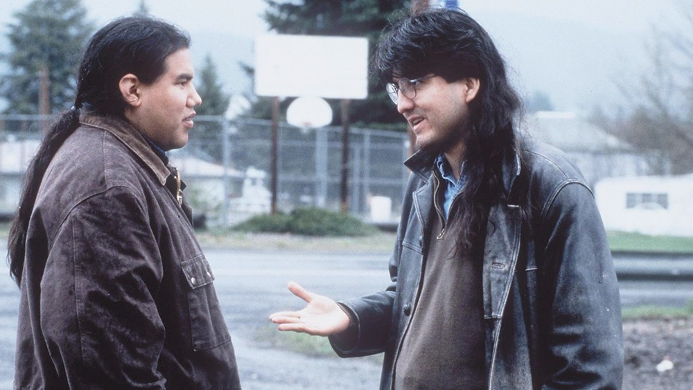 Sherman Alexie, right, with director Chris Eyre on the set of Smoke Signals in 1998. - MIRAMAX PHOTO