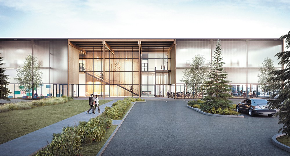 A new cross-laminated timber factory is expected to employ 150 people in Spokane Valley. - KATERRA RENDERING