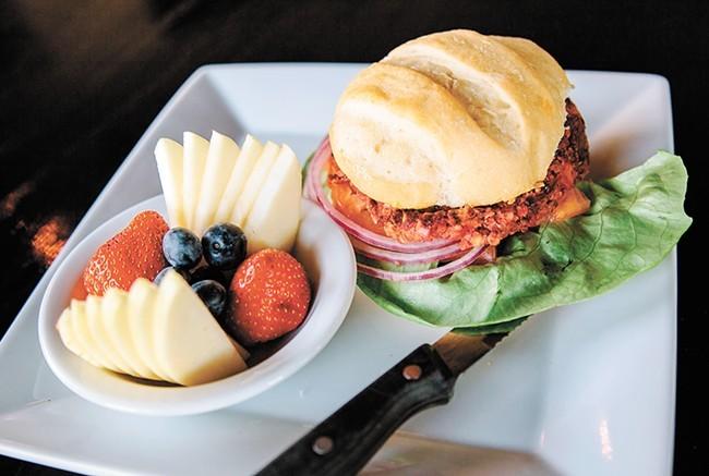 The vegan bean and beet burger at Cascadia Public House.