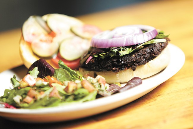 A portobello and black bean burger is just one of the Viking's vegetarian-friendly options.