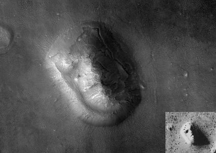 "This 2001 Mars Global Surveyor image more clearly shows that the ""face"" is just a mesa. - NASA"