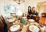 Haven + Pine's Ginny Taylor (right) and Meghan Mollahan prefer to keep center of table decor low so that guests an see each other.