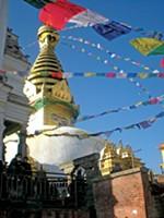 Prayer flags hanging in Nepal