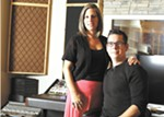 Mandy and Jimmy Hill in the control room of their new Amplified Wax recording studio.