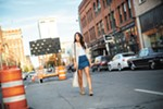 Fashion blogger Annessa Smith makes the most of downtown Spokane's rampant construction.