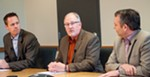 Interim street director Gary Kaesemeyer (center) is flanked by Public Works & Utilities Division Director Scott Simmons (left) and Mayor David Condon as they outline the city's pothole-filling strategy.