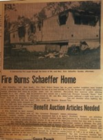 A 1971 Freeburg Tribune clipping shows how Schaeffer was rescued from a fire as a baby.