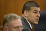 Aaron Hernandez, the former NFL tight end, at his murder trial at the Bristol County Superior Court in Fall River, Mass., April 15, 2015.