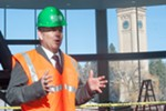Mayor David Condon talks about the ongoing Riverfront Park construction