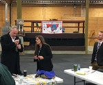 Spokane Tribal Chairwoman Carol Evans presents U.S. Secretary of the Interior Ryan Zinke with gifts of jerky and her homemade huckleberry jam, as well as a dog-tag with a stamped reminder to uphold his duty to the tribe under an executive order from 1881, which established the tribe's reservation.