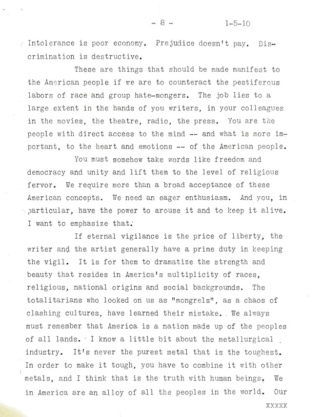 An Address by Eric A. Johnston before the Writers' War Board