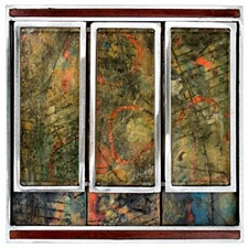 "MICHAEL HORSWILL - ""Windows,"" 2018; steel, wood, encaustic, glass, paper."