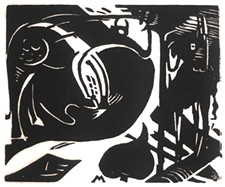 """JUNDT ART MUSEUM - Franz Marc (German, 1880–1916). """"Zwei Fabeltiere (Two Mythical Animals),"""" 1914, Woodcut on paper"""
