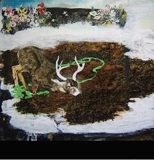 """ELLEN PICKEN - """"Deer King in Wintergreen,"""" oil on panel"""
