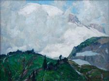 "John F. Carlson (American, 1875–1945), ""Western #6 Out of the Mist, Mt. Rainier,"" 1921."
