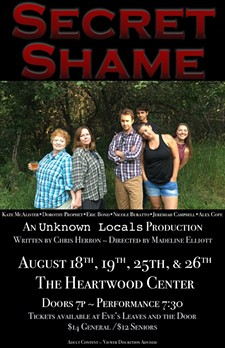 "Kate McAlister, Dorothy Prophet, Eric Bond, Nicole Buratto, Jeremiah Campbell and Alex Cope star in ""Secret Shame."""