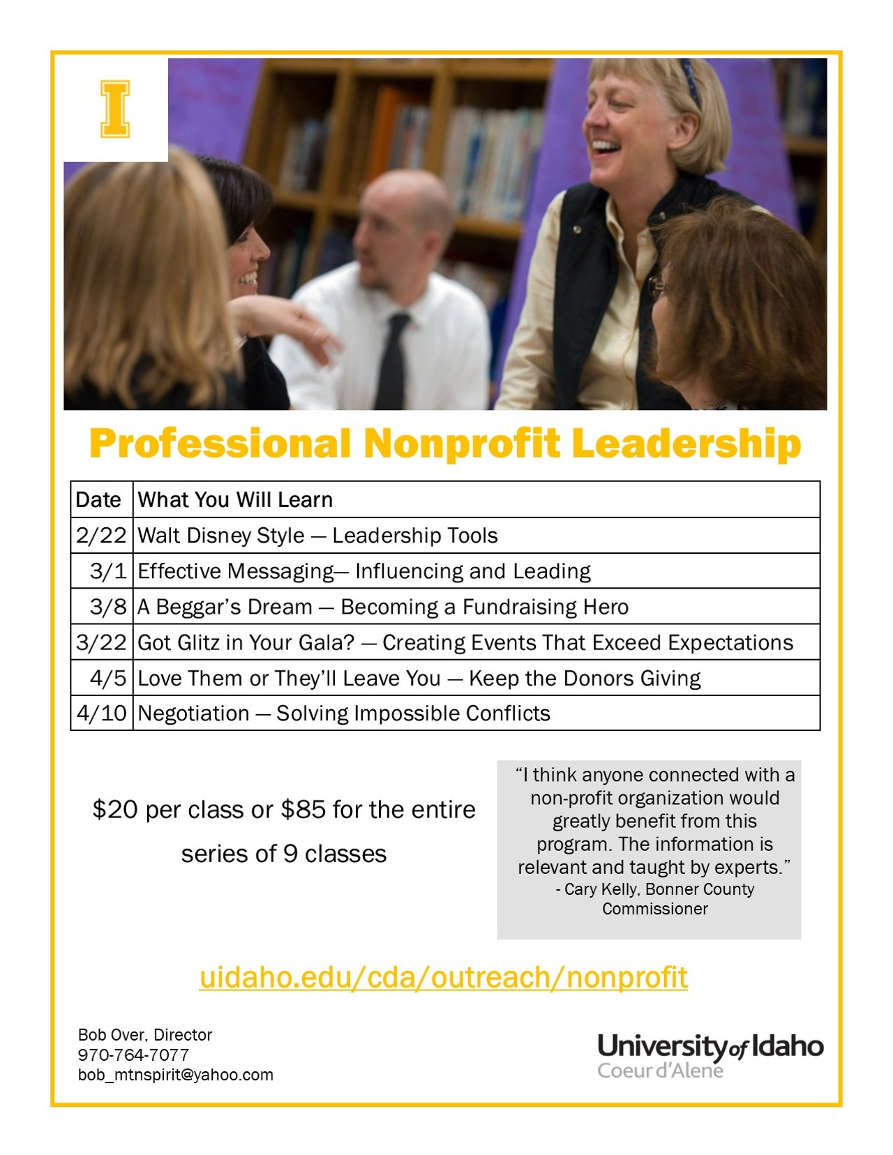 Non profit leadership classes certificate program north idaho click to enlarge 57d02619spring2018flyerg 1betcityfo Image collections