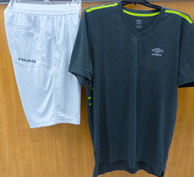 Umbro men's tee, $9.99; and Head shorts, $12.99. - MADISON BENNETT