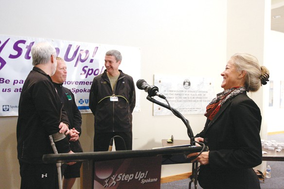 Verner at the launch of her Step Up! Spokane program, which will promote a healthier lifestyle. As part of the program, the mayor gave a free pedometer to each of the city's 2,000 employees. - YOUNG KWAK