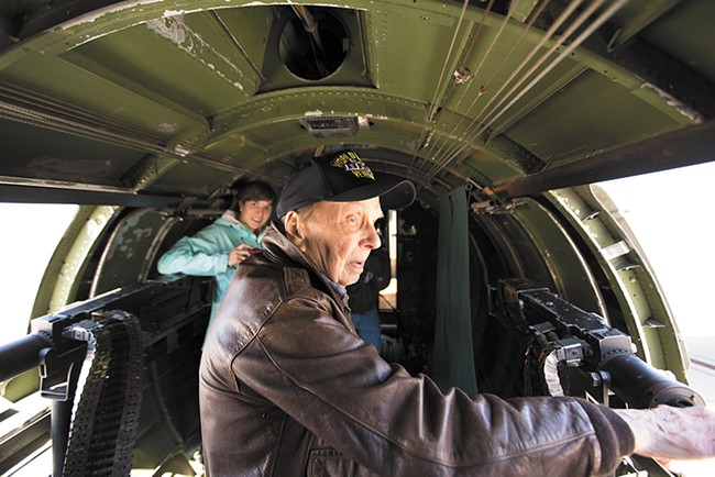 Veteran Mike Kindya, 90, inside the Memphis Belle of Hollywood fame. - YOUNG KWAK