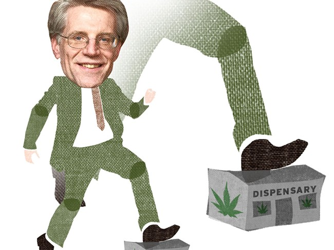 When Eastern Washington's U.S. attorney, Michael Ormsby, entered the state Legislature's pot debate, the whole deal began to crumble. - CHRIS BOVEY ILLUSTRATION
