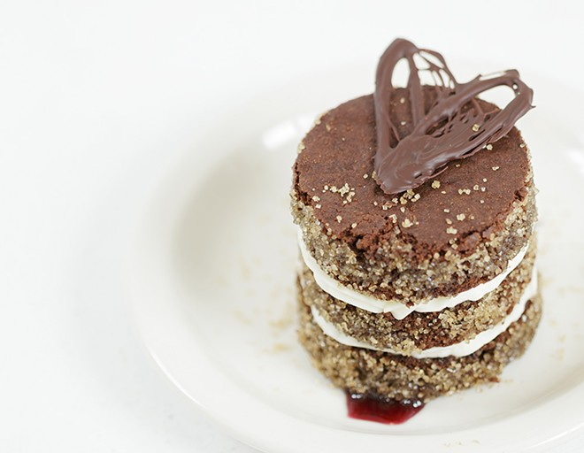 A three-course meal at Stacks @ Steam Plant is $18, including the Stacks Chocolate Tower for dessert. - YOUNG KWAK