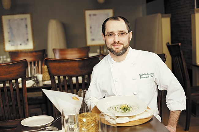 Wild Sage Executive Chef Charlie Connor with his Leek, Potato and Kale Chowder. - YOUNG KWAK