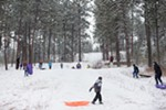 With a few inches of new snow on the ground, people sled at Underhill Park in Spokane.