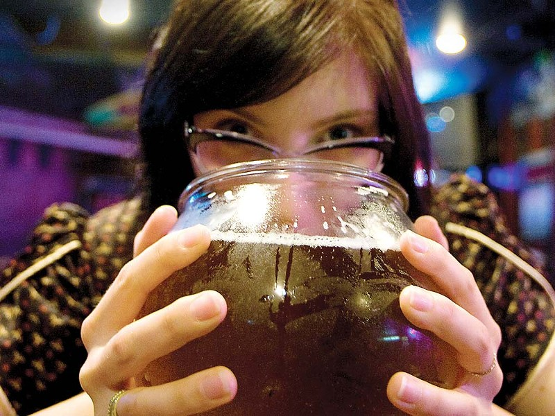 Yes, you are seeing that right. It's a fishbowl of beer. - KEVIN QUINN