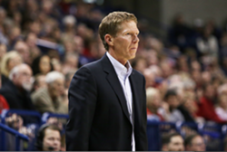 Coach Mark Few takes the boys in blue down to Malibu tonight to face Pepperdine. - YOUNG KWAK PHOTO