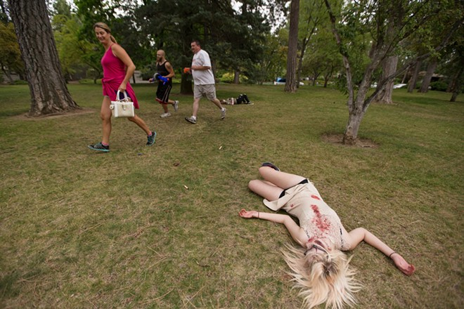 Zombie Malarie Schultz lays on the ground after being shot. - YOUNG KWAK