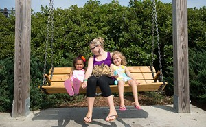 Amanda Fletcher of Essex, with her daughters Kalyiah, 6, (right) and Amira, 4