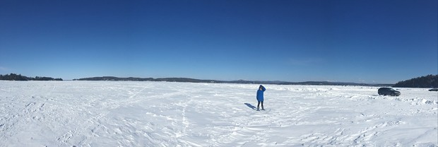 Angela on the frozen lake