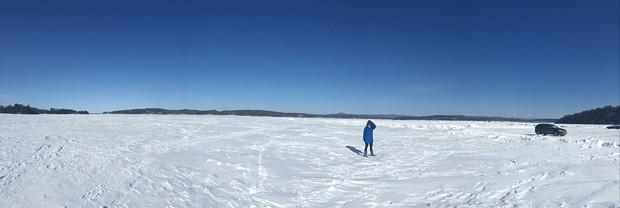 Angela on the frozen lake