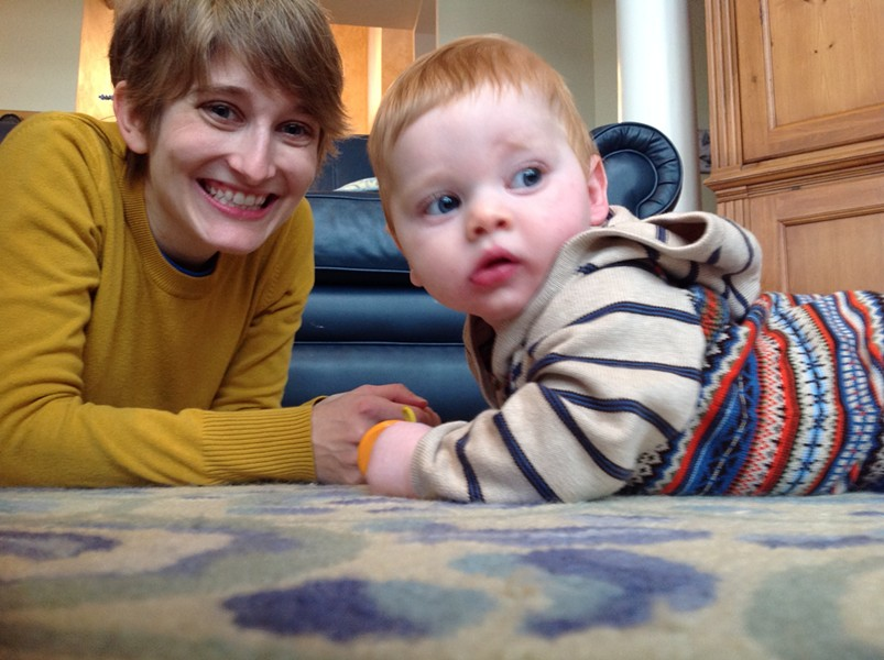 Baby's-eye view: Katie with Asa at six months.