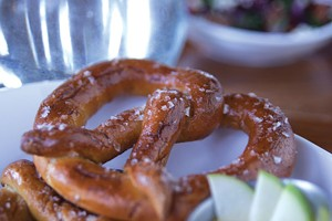 Belgian-style pretzels with maple-Dijon-mustard dipping sauce